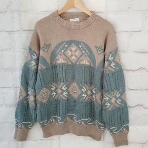 Vintage XL Taupe Seafoam Green Nordic Sweater